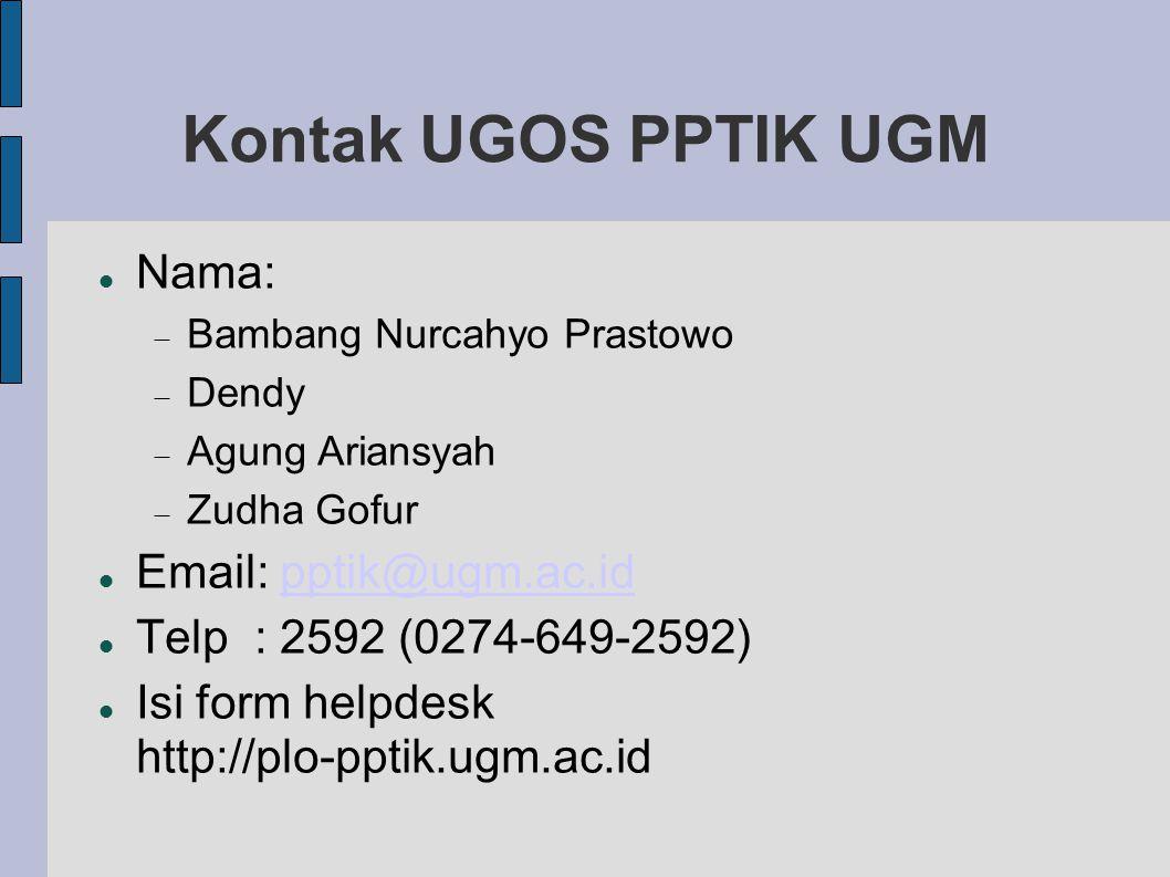 Kontak UGOS PPTIK UGM Nama: