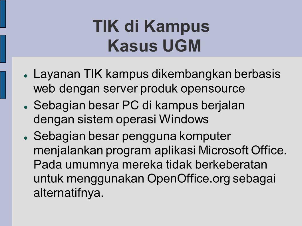 TIK di Kampus Kasus UGM Layanan TIK kampus dikembangkan berbasis web dengan server produk opensource.