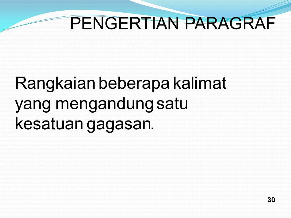 PENGERTIAN PARAGRAF Rangkaian beberapa kalimat yang mengandung satu