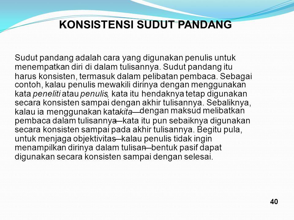 KONSISTENSI SUDUT PANDANG