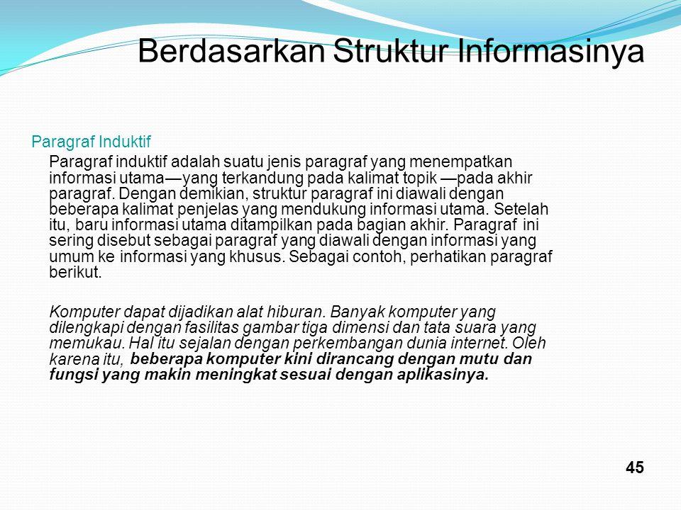Berdasarkan Struktur Informasinya 45 Paragraf Induktif