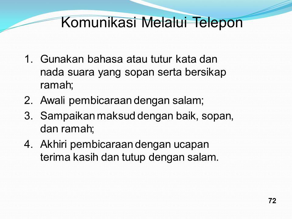 Komunikasi Melalui Telepon 1. G unakan bahasa atau tutur kata dan