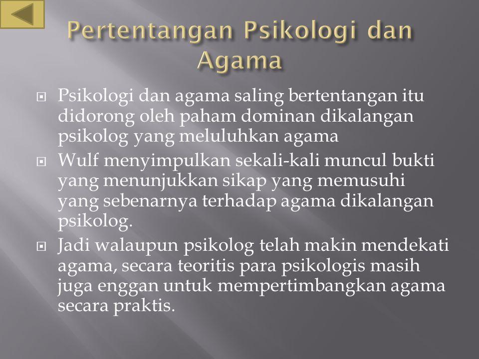 Pertentangan Psikologi dan Agama
