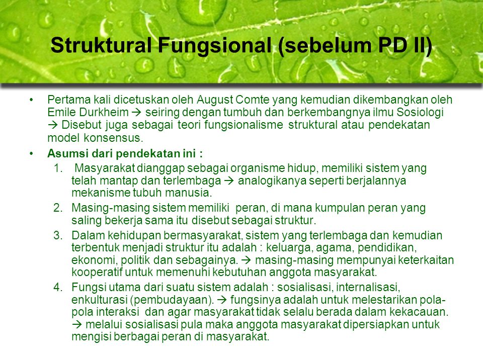 Struktural Fungsional (sebelum PD II)