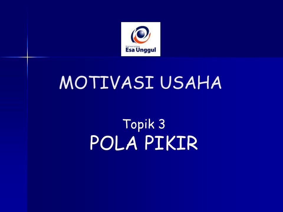 MOTIVASI USAHA Topik 3 POLA PIKIR