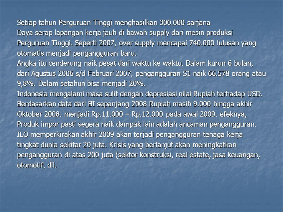 Setiap tahun Perguruan Tinggi menghasilkan 300.000 sarjana