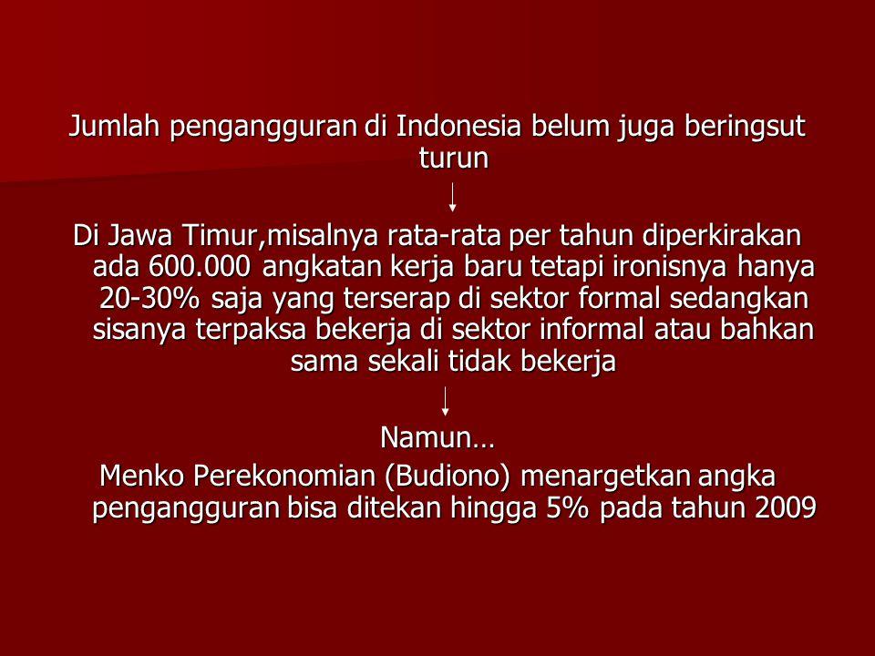 Jumlah pengangguran di Indonesia belum juga beringsut turun