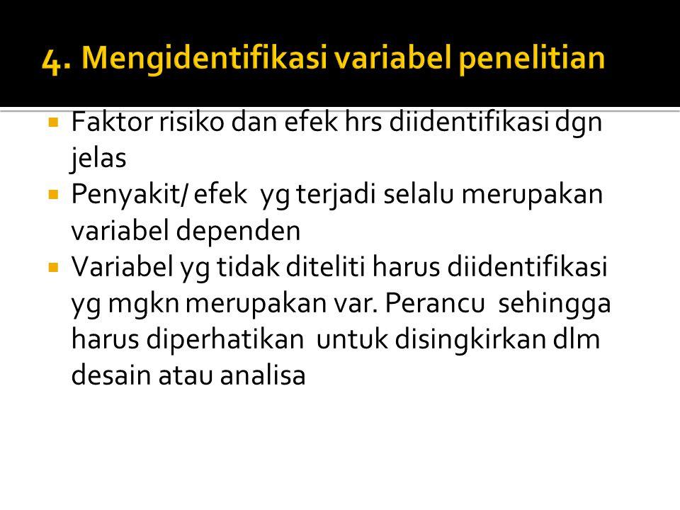 4. Mengidentifikasi variabel penelitian