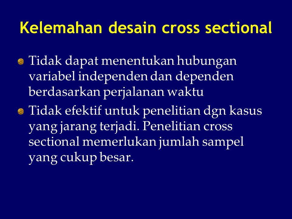 Kelemahan desain cross sectional