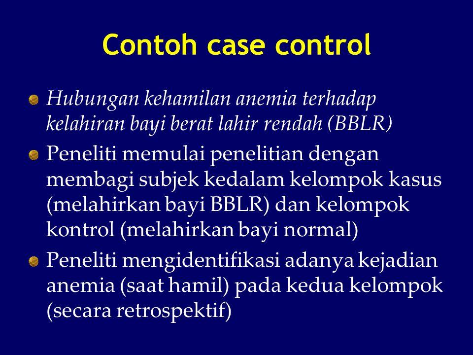 Contoh case control Hubungan kehamilan anemia terhadap kelahiran bayi berat lahir rendah (BBLR)
