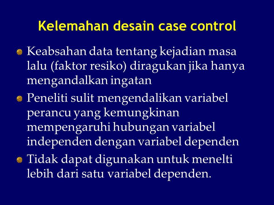 Kelemahan desain case control