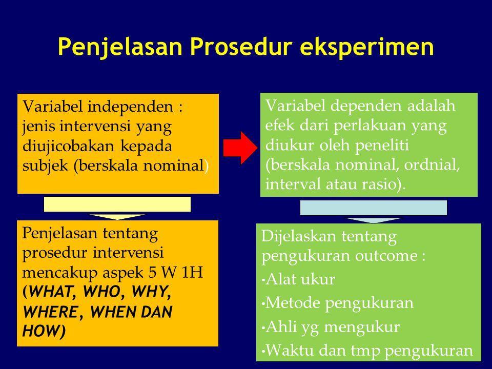 Penjelasan Prosedur eksperimen