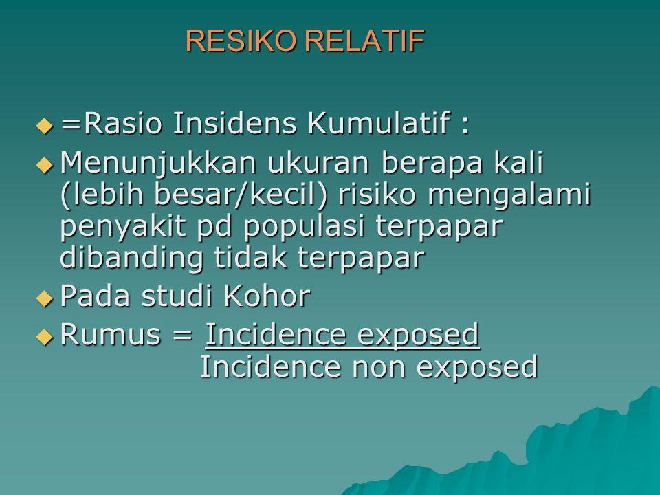 RESIKO RELATIF =Rasio Insidens Kumulatif :
