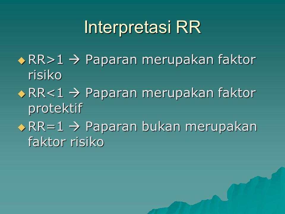 Interpretasi RR RR>1  Paparan merupakan faktor risiko