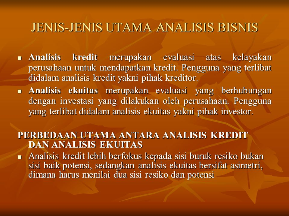 JENIS-JENIS UTAMA ANALISIS BISNIS