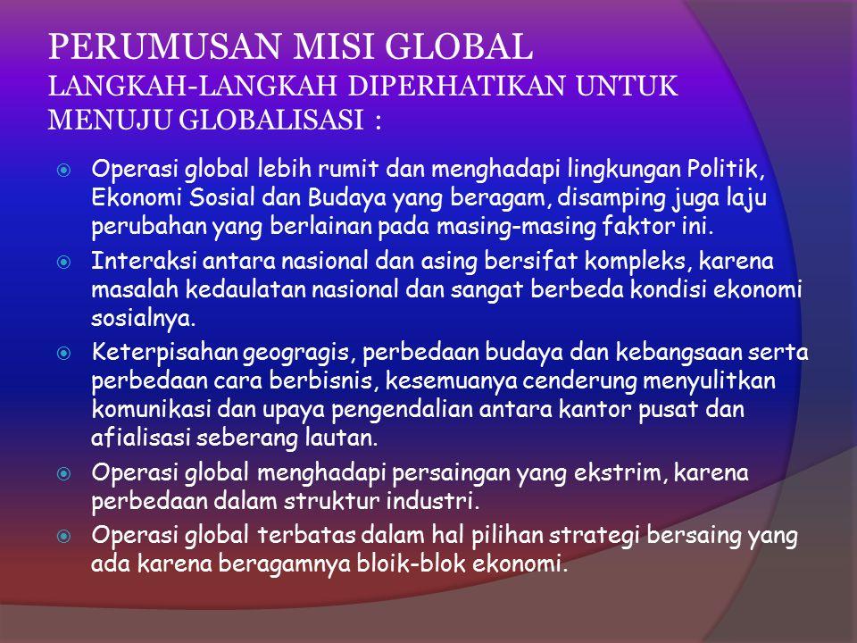 PERUMUSAN MISI GLOBAL LANGKAH-LANGKAH DIPERHATIKAN UNTUK MENUJU GLOBALISASI :