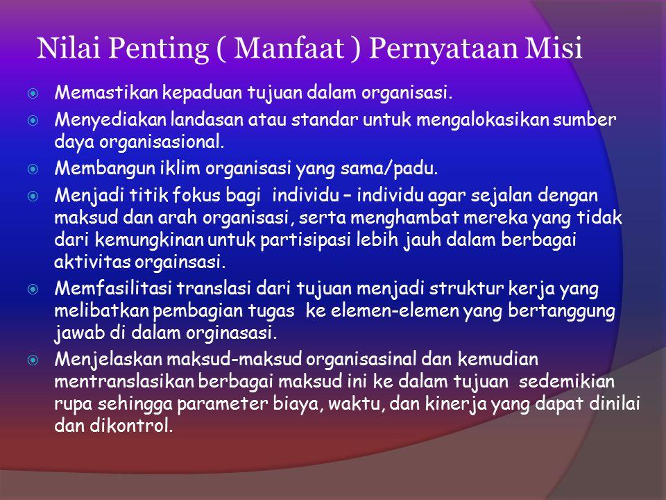 Nilai Penting ( Manfaat ) Pernyataan Misi