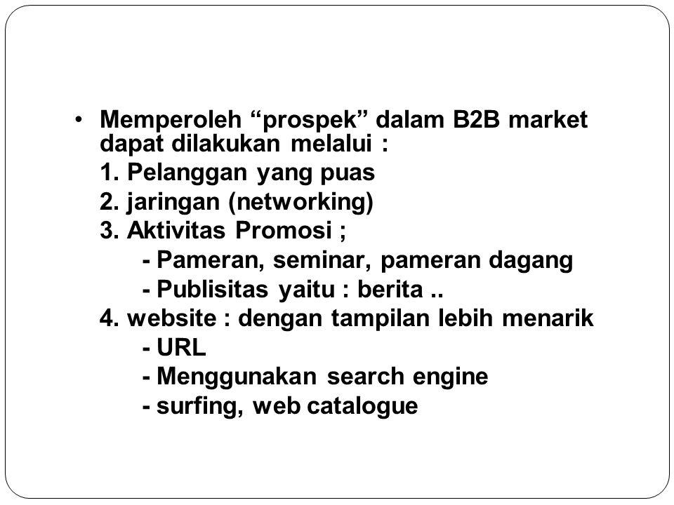 Memperoleh prospek dalam B2B market dapat dilakukan melalui :
