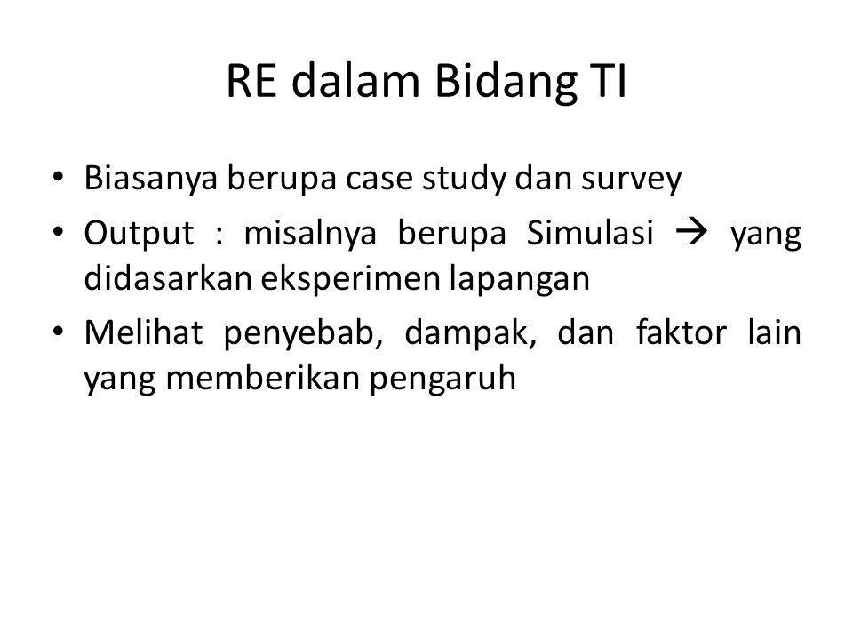 RE dalam Bidang TI Biasanya berupa case study dan survey
