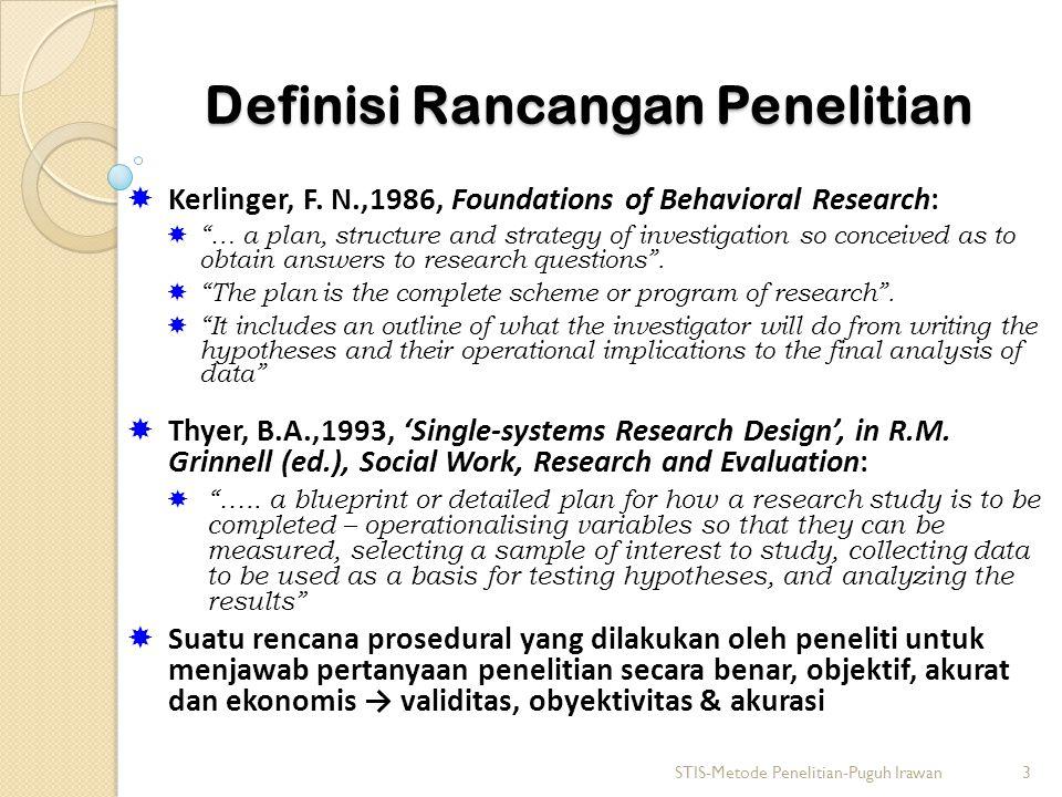 Definisi Rancangan Penelitian