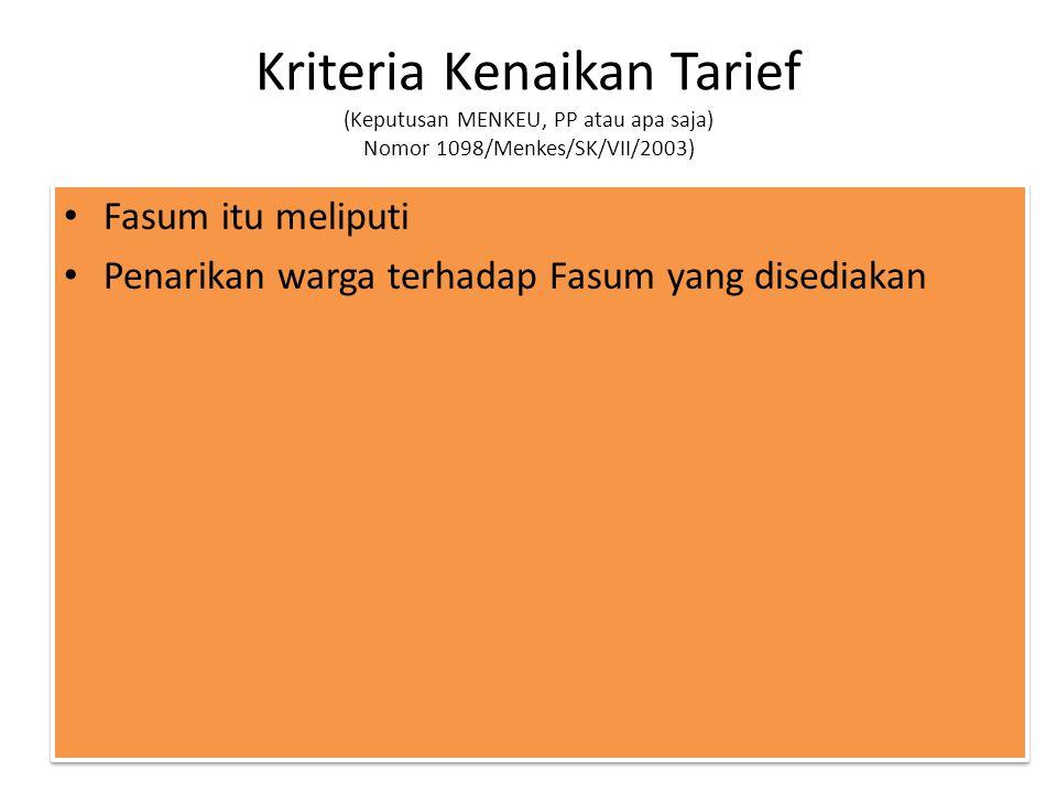Kriteria Kenaikan Tarief (Keputusan MENKEU, PP atau apa saja) Nomor 1098/Menkes/SK/VII/2003)