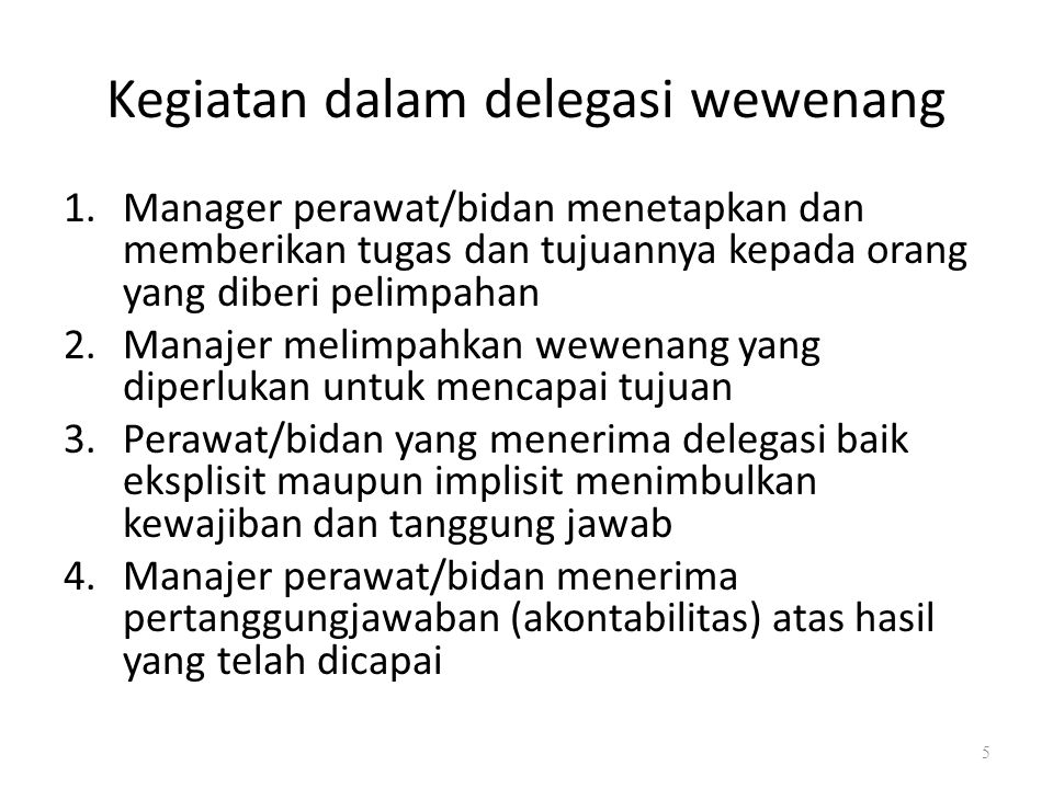 Kegiatan dalam delegasi wewenang