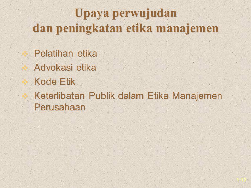 Upaya perwujudan dan peningkatan etika manajemen
