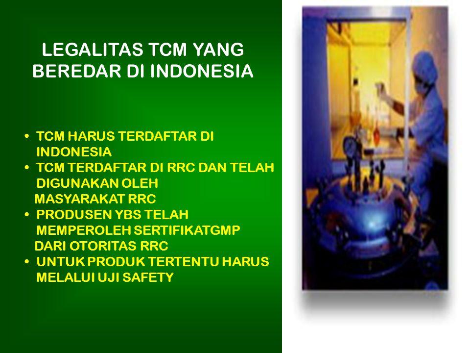 LEGALITAS TCM YANG BEREDAR DI INDONESIA