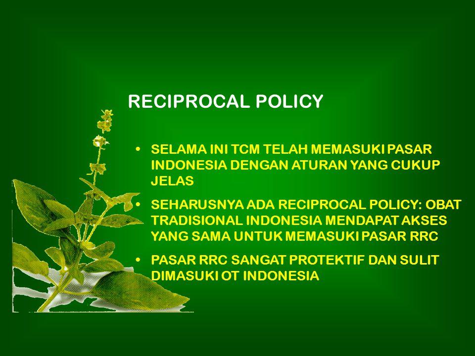 RECIPROCAL POLICY SELAMA INI TCM TELAH MEMASUKI PASAR INDONESIA DENGAN ATURAN YANG CUKUP JELAS.