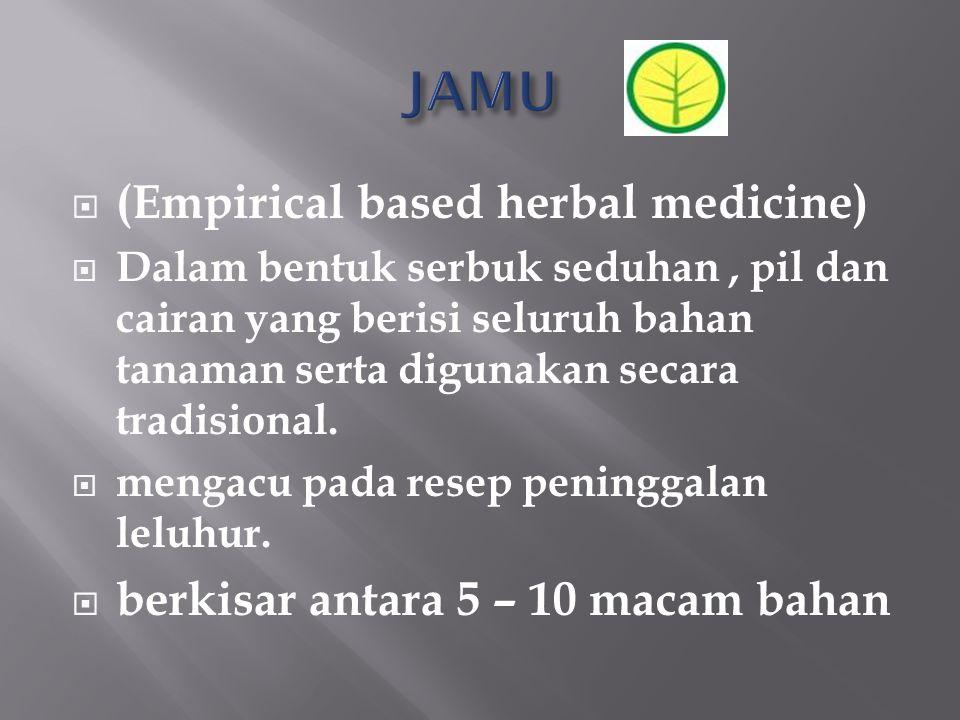 JAMU (Empirical based herbal medicine)