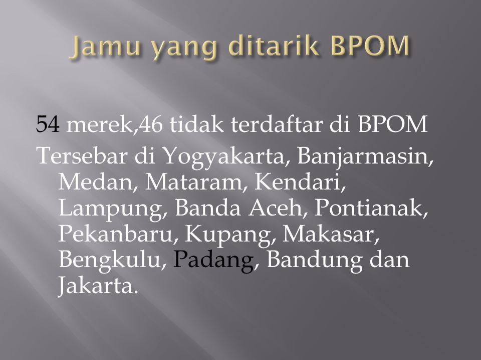 Jamu yang ditarik BPOM 54 merek,46 tidak terdaftar di BPOM
