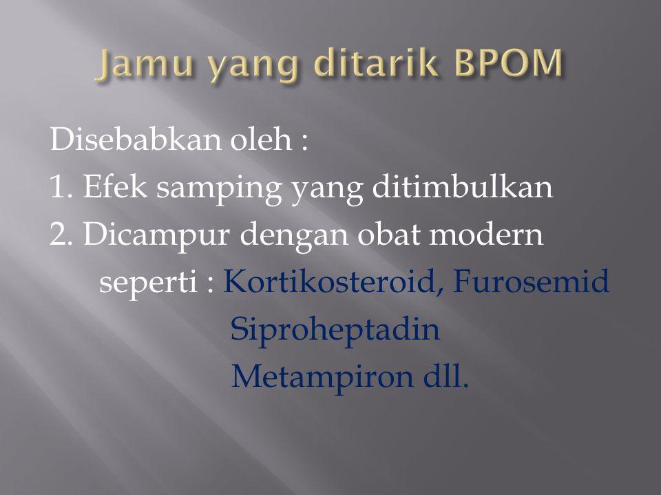Jamu yang ditarik BPOM Disebabkan oleh :