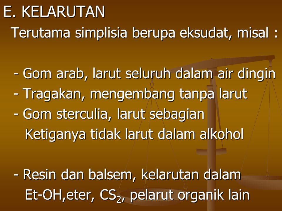 E. KELARUTAN - Gom arab, larut seluruh dalam air dingin