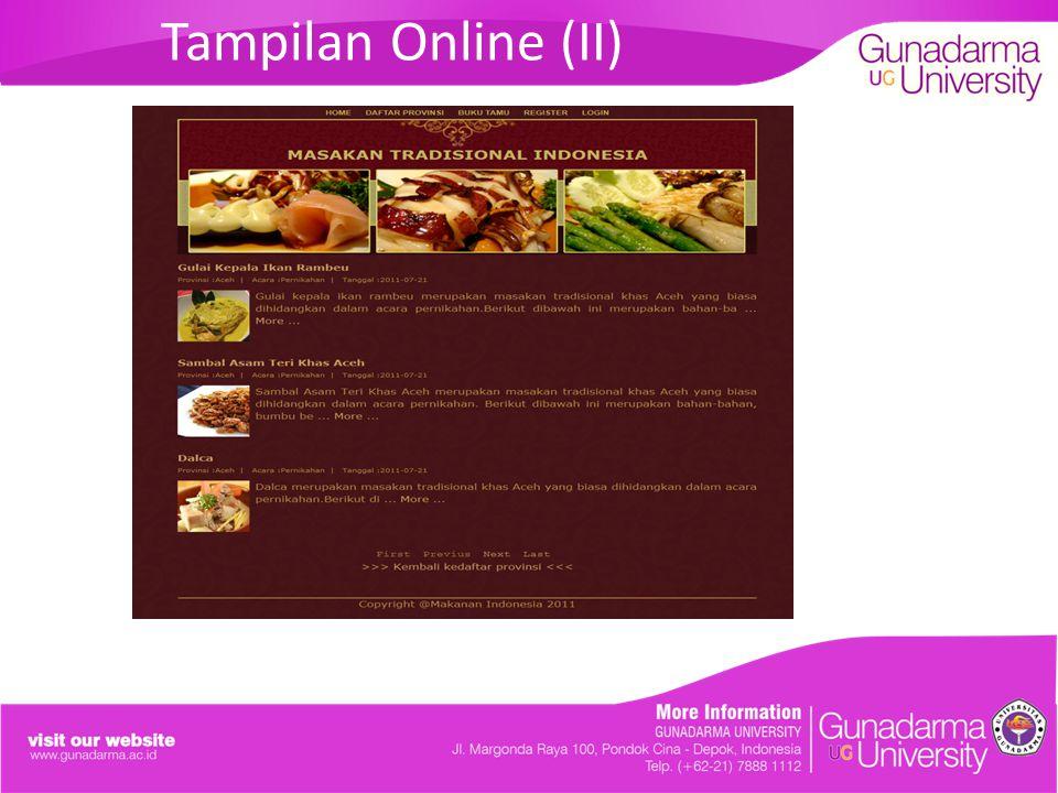 Tampilan Online (II)