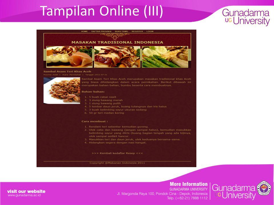 Tampilan Online (III)