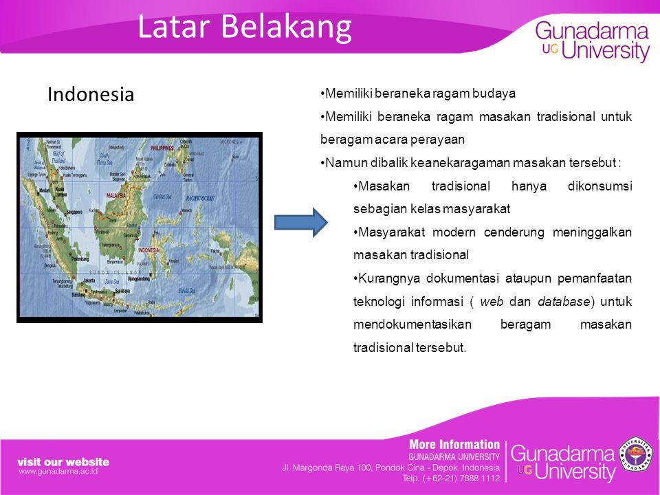 Latar Belakang Indonesia Memiliki beraneka ragam budaya