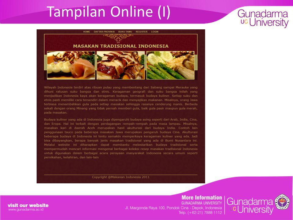 Tampilan Online (I)