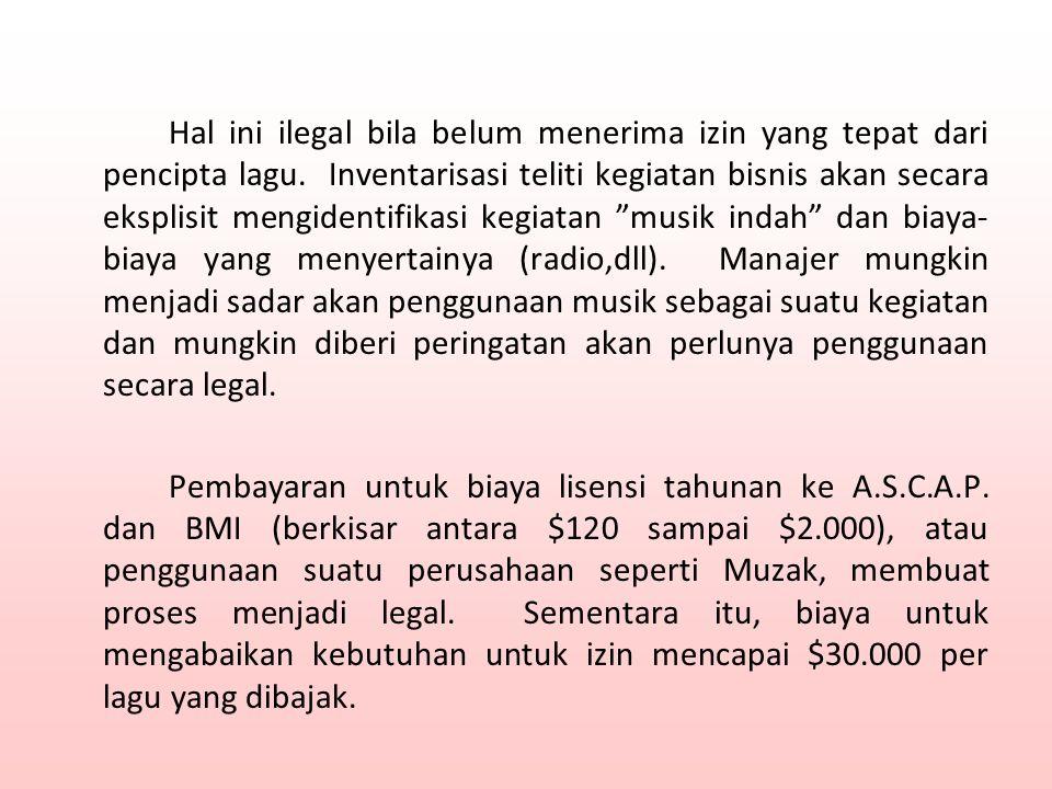 Hal ini ilegal bila belum menerima izin yang tepat dari pencipta lagu