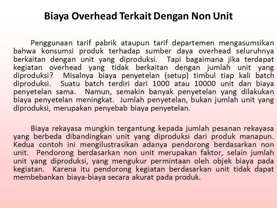 Biaya Overhead Terkait Dengan Non Unit