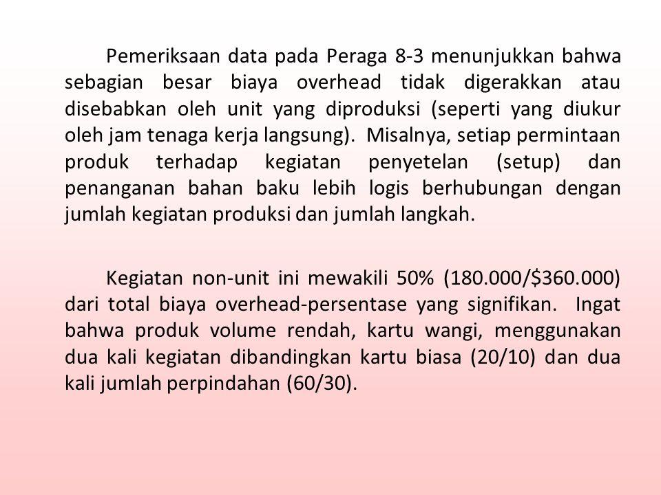Pemeriksaan data pada Peraga 8-3 menunjukkan bahwa sebagian besar biaya overhead tidak digerakkan atau disebabkan oleh unit yang diproduksi (seperti yang diukur oleh jam tenaga kerja langsung).