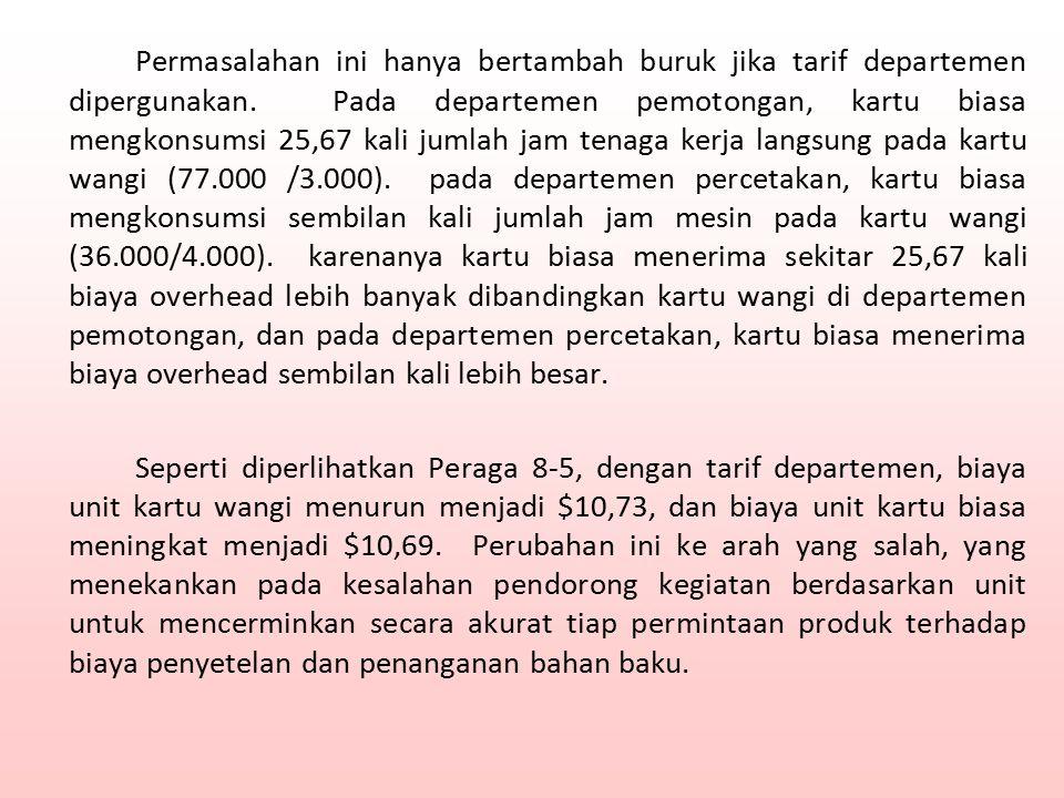 Permasalahan ini hanya bertambah buruk jika tarif departemen dipergunakan.