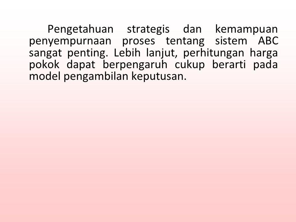 Pengetahuan strategis dan kemampuan penyempurnaan proses tentang sistem ABC sangat penting.