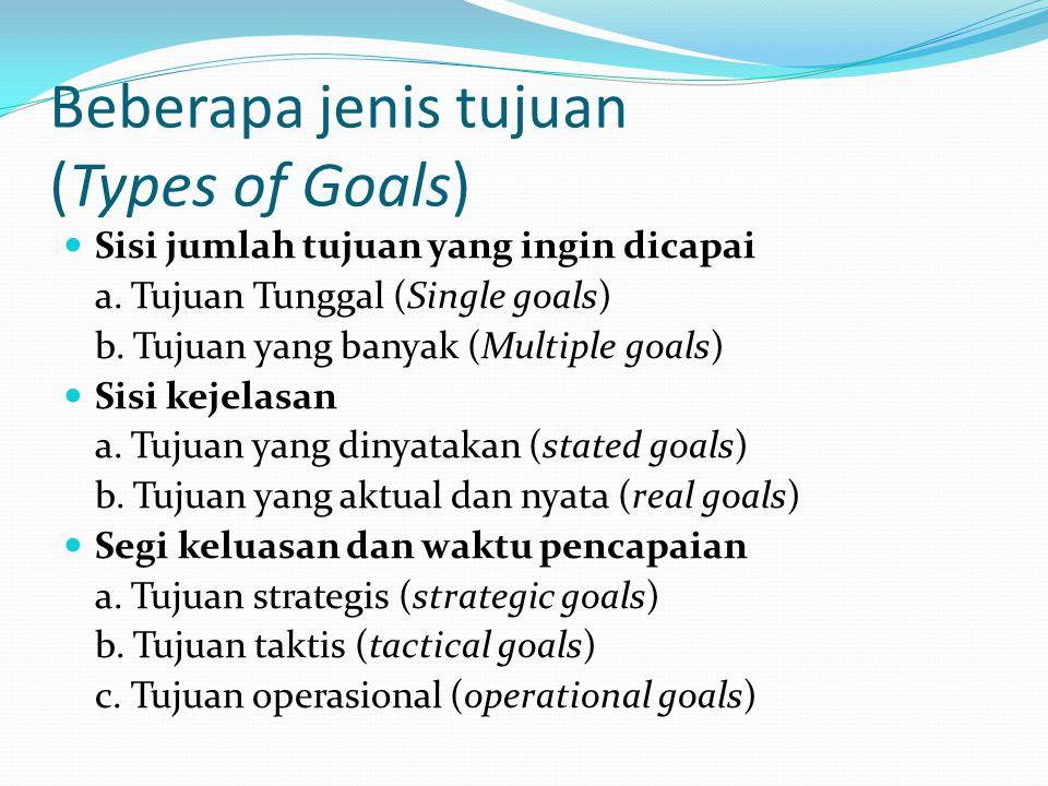Beberapa jenis tujuan (Types of Goals)