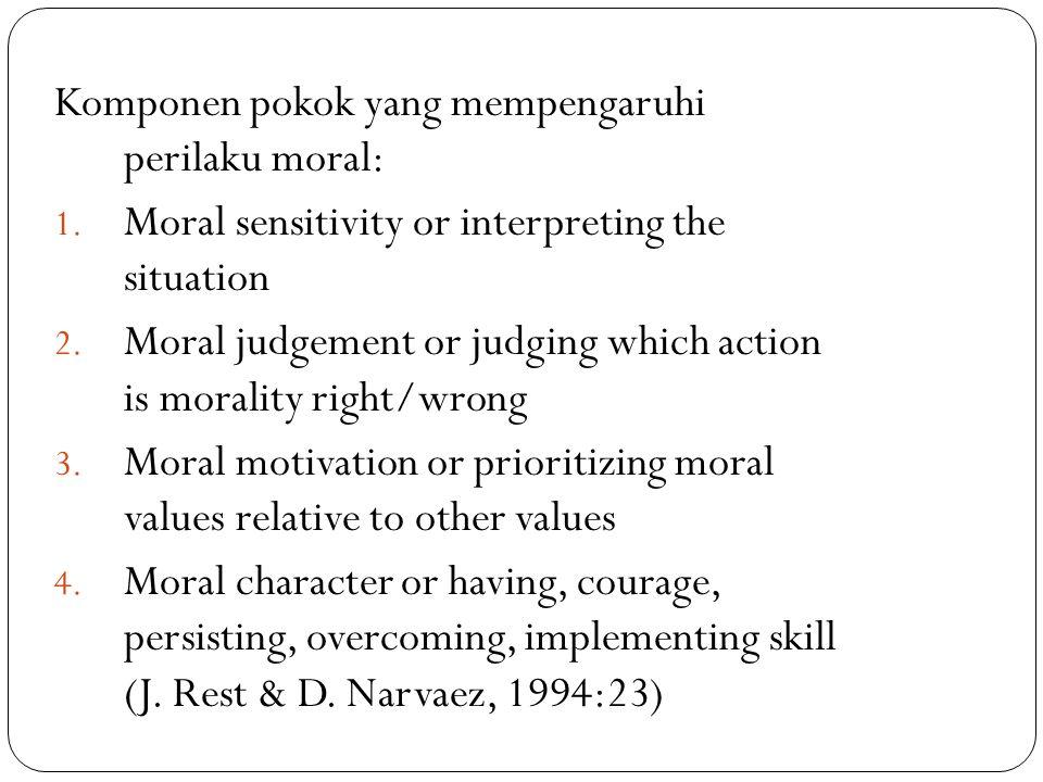 Komponen pokok yang mempengaruhi perilaku moral: