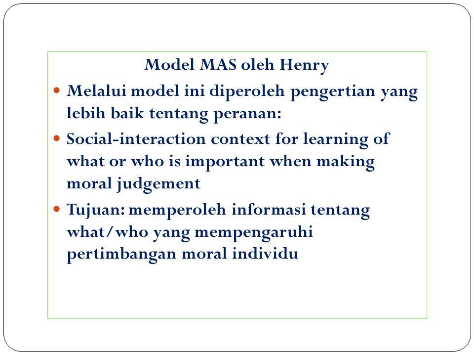 Model MAS oleh Henry Melalui model ini diperoleh pengertian yang lebih baik tentang peranan: