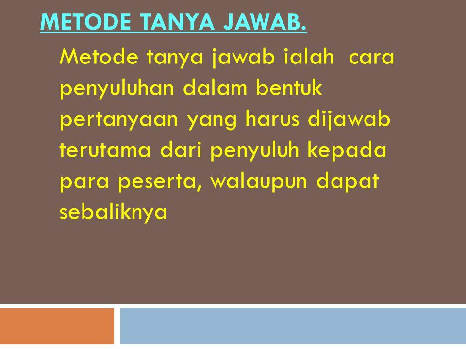 Metode Tanya Jawab.