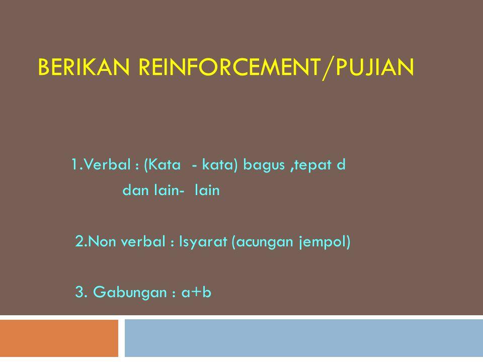 Berikan reinforcement/pujian