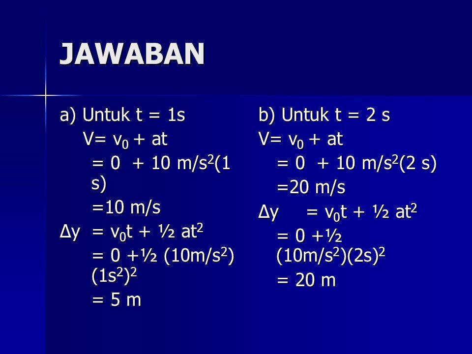 JAWABAN a) Untuk t = 1s V= v0 + at = 0 + 10 m/s2(1 s) =10 m/s