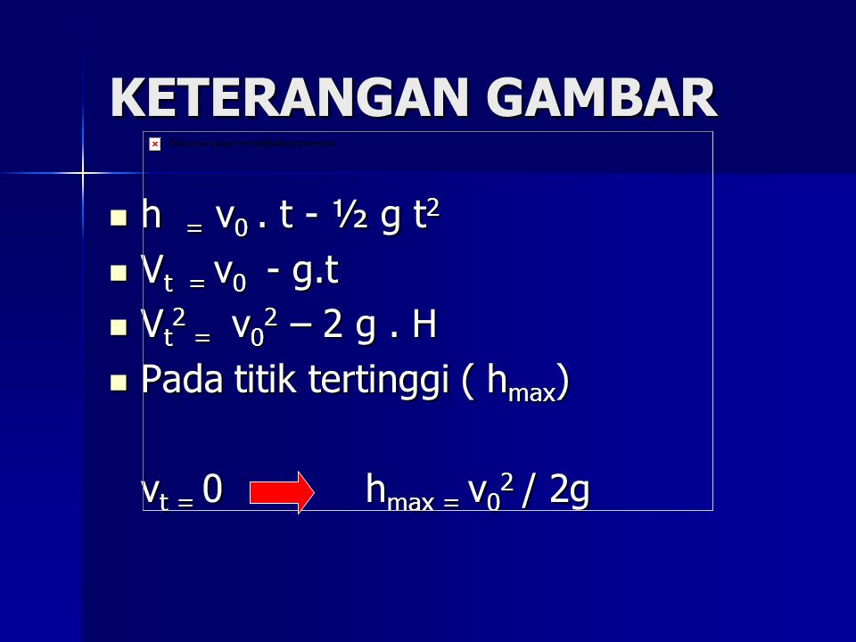 KETERANGAN GAMBAR h = v0 . t - ½ g t2 Vt = v0 - g.t