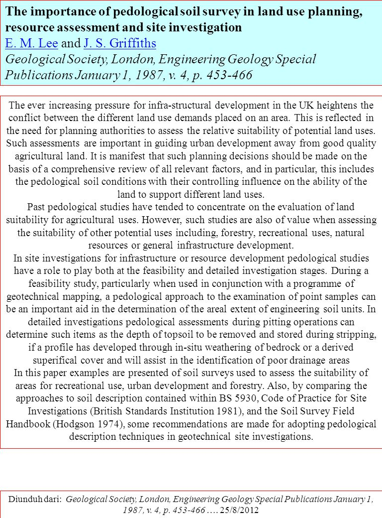 The importance of pedological soil survey in land use planning, resource assessment and site investigation
